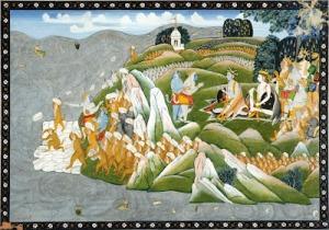 The Rama setu to Lanka being built by the Monkeys and Bears