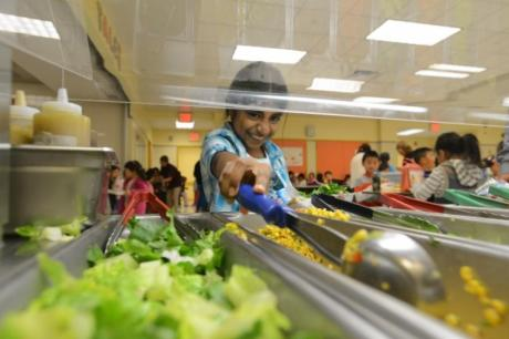 Vegetarian cafeteria at PS 244 in Queens