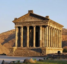 The reconstructed sun Temple of Garni. The temple as it stands today was reconstructed between 1969 to1974.