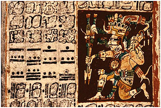 mayan Close-up from the Dresden Codex, one of the four surviving Maya books.