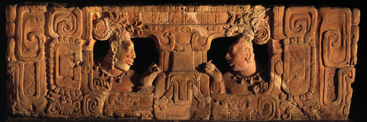 Mayan Seat back of a carved throne from Piedras Negras, now in the Guatemala National Museum of Archaeology and History.